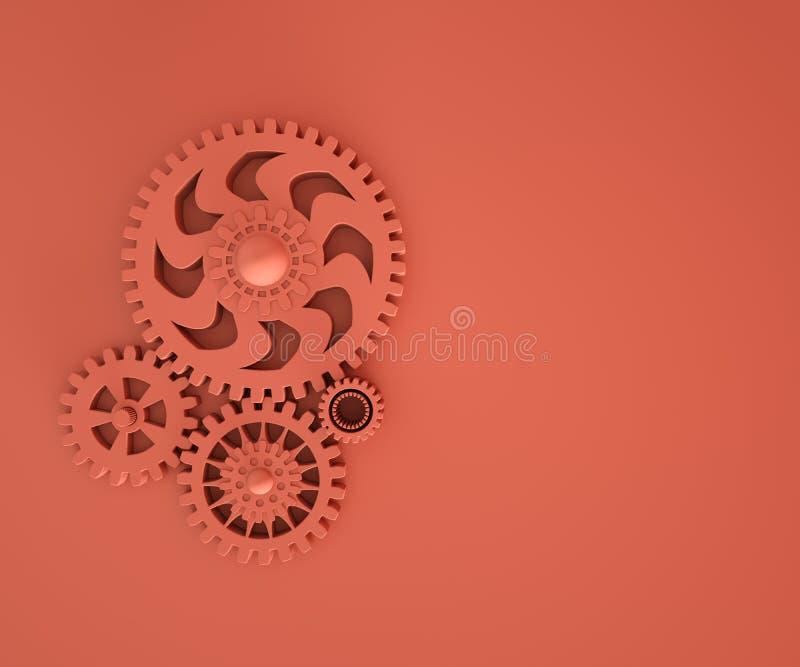 ilustração 3d das engrenagens corais vivas na moda monocrom?tico Desenvolvimento da indústria, trabalho do motor, solução do negó imagens de stock