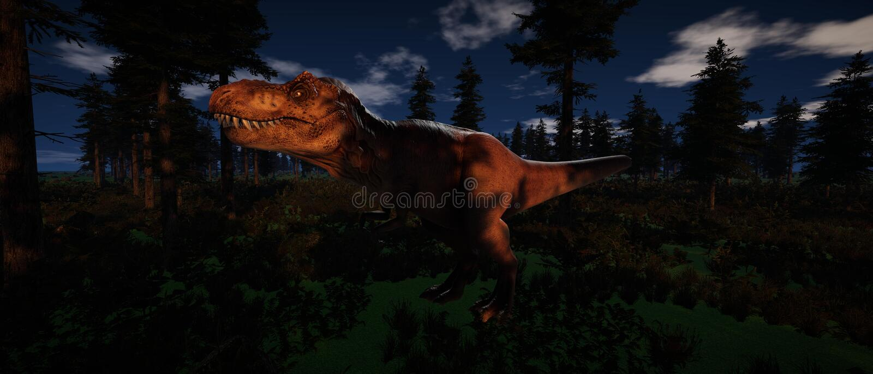 Ilustração 3d de alta resolução extremamente detalhada e realística de uma posição do dinossauro de T-Rex na floresta ilustração do vetor