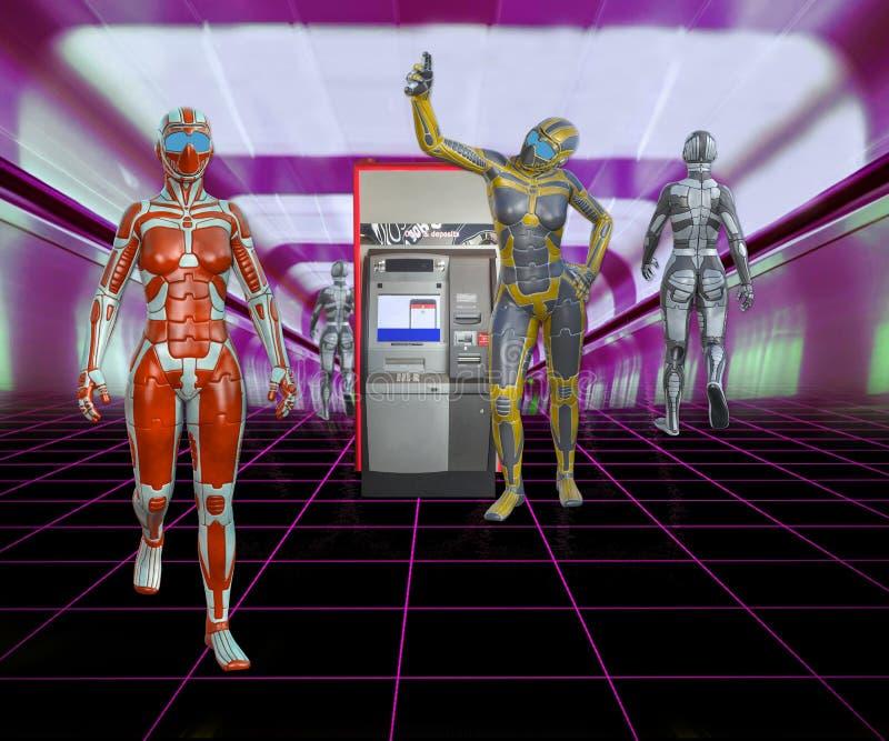 ilustração 3D de androides futuristas na alameda com máquina de dinheiro ilustração royalty free