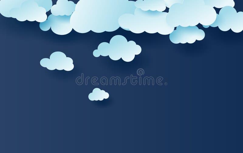 ilustração 3D de claro - vetor branco do teste padrão das nuvens do céu azul Projeto criativo simples com corte do papel do cloud ilustração do vetor