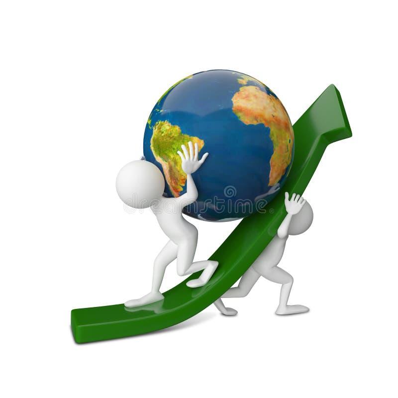 ilustração 3D de dois povos abstratos que aumentam um globo ilustração stock