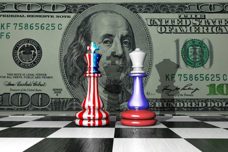 Ilustração 3D de duas peças de xadrez com fundo de bandeiras norte-americanas e russas ilustração do vetor