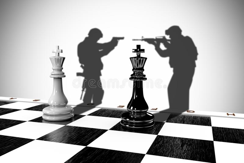 Ilustração 3D de duas peças de xadrez com a sombra de um soldado ilustração royalty free