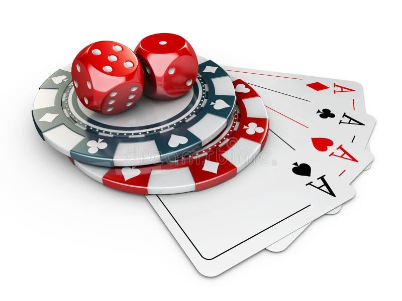 ilustração 3d de elementos do casino Fundo branco isolado ilustração stock