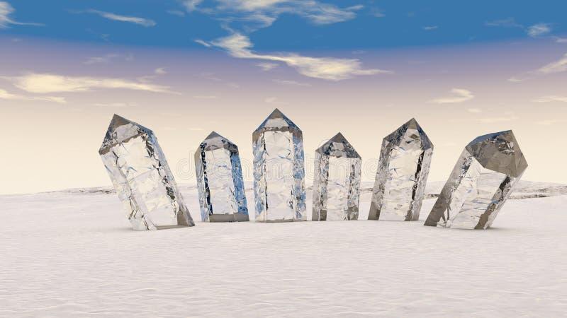 ilustração 3D de estar junto cristais transparentes ilustração stock