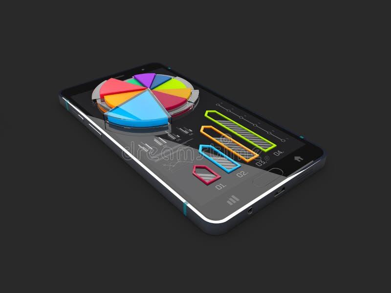 a ilustração 3d de estatísticas da finança do negócio colore a carta de torta no telefone isolado no fundo preto ilustração stock