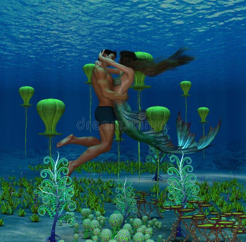 Ilustração 3D de fantasia mostrando sereia e amante humano se abraçando ilustração do vetor