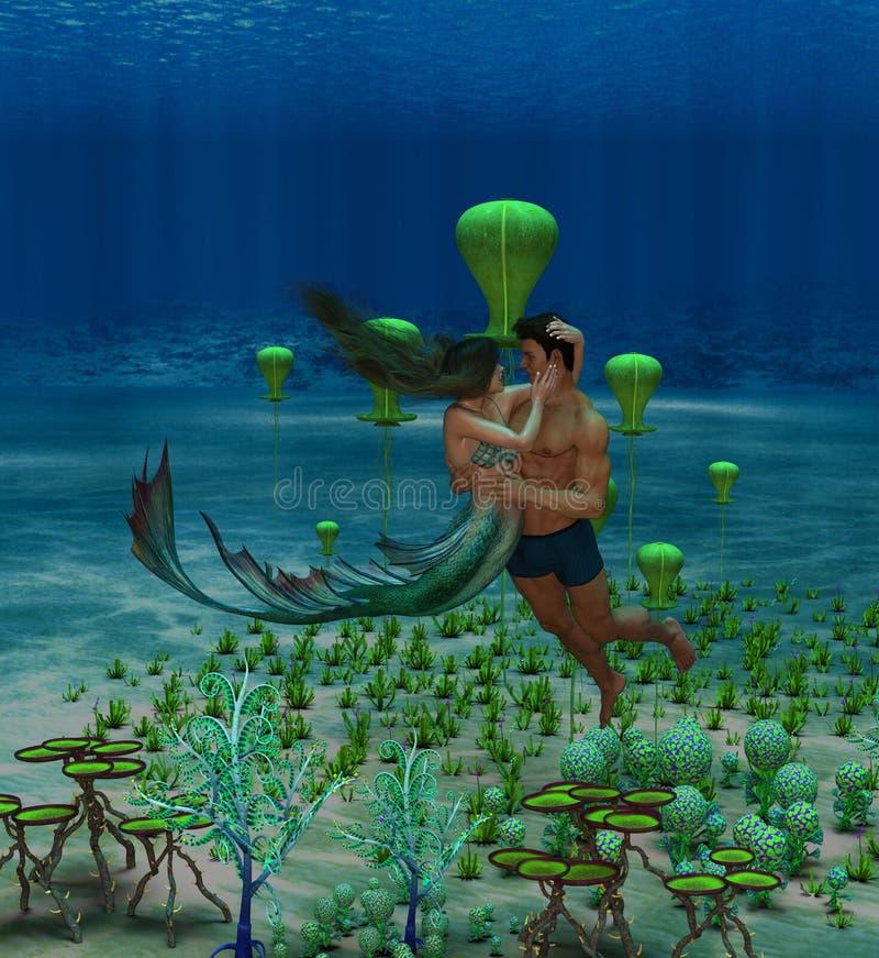 Ilustração 3D de fantasia mostrando sereia e amante humano se abraçando ilustração royalty free