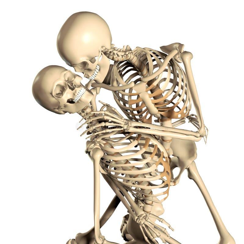 ilustração 3d de pares de esqueleto da dança na paixão ilustração stock