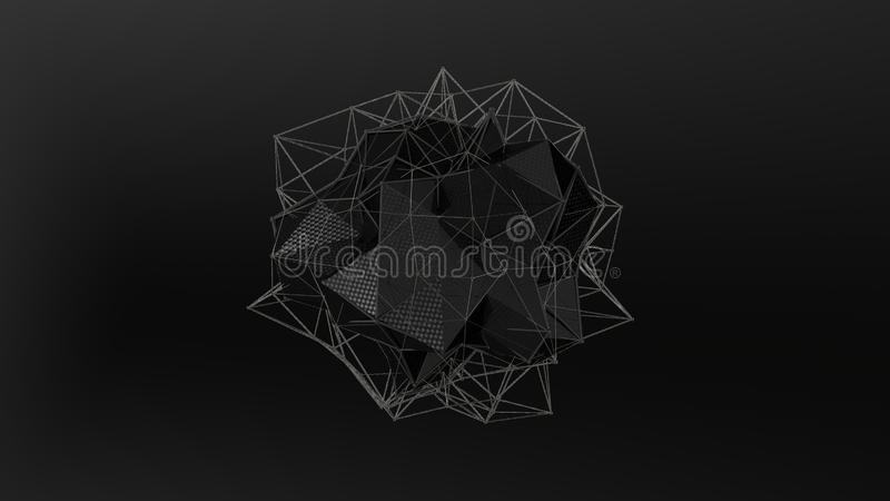 ilustração 3D de um cristal preto da forma irregular, baixa figura abstrata poligonal, em um fundo preto Projeto futurista 3d ilustração stock