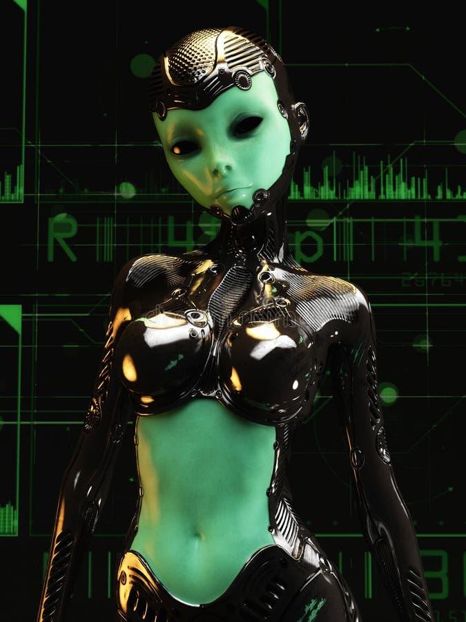 ilustração 3D de um Cyborg fêmea ilustração stock