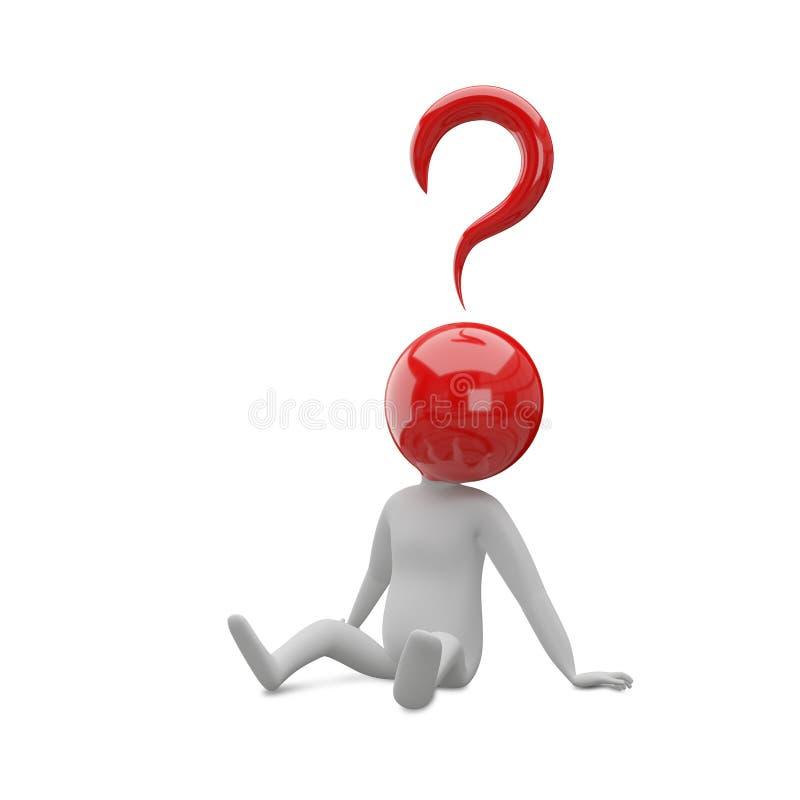 ilustração 3D de um homem abstrato com uma cabeça da pergunta S ilustração do vetor
