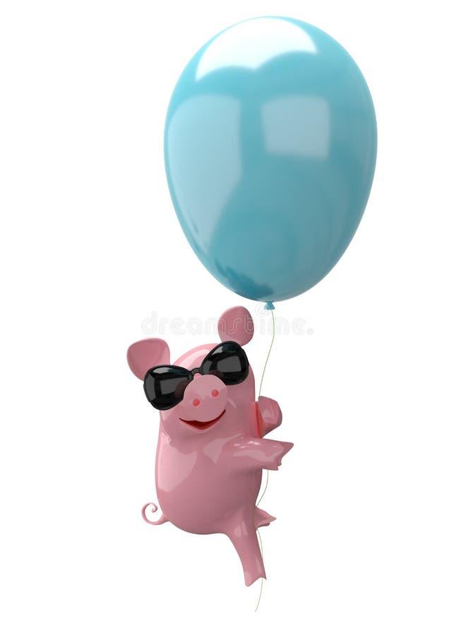ilustração 3D de um porco em vidros do balão ilustração royalty free