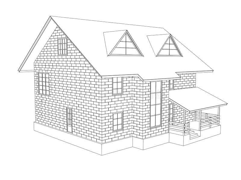 ilustração 3d de uma casa da casa de campo do dois-andar A lápis desenho Paredes dos blocos ilustração do vetor