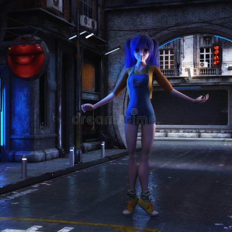 ilustração 3D de uma cena urbana futurista com Manga Girl ilustração do vetor
