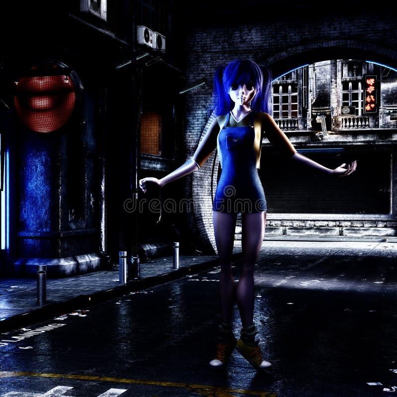 ilustração 3D de uma cena urbana futurista com Manga Girl ilustração royalty free
