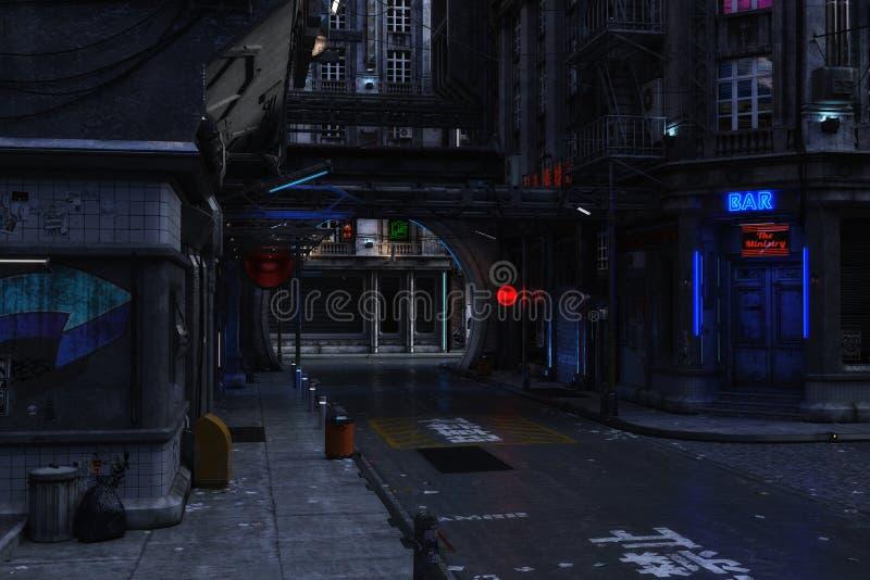 ilustração 3D de uma cena urbana futurista ilustração stock