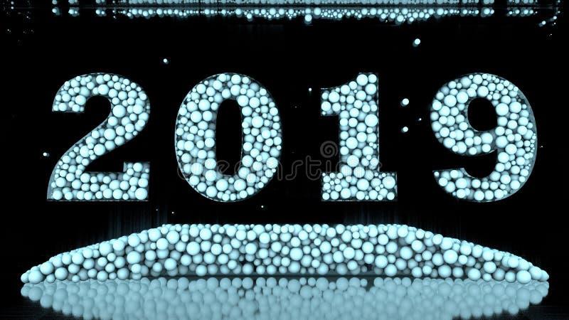 ilustração 3D de uma data 2019, consistindo em um grupo de bolas azuis rendição 3d A ideia para o calendário ilustração do vetor