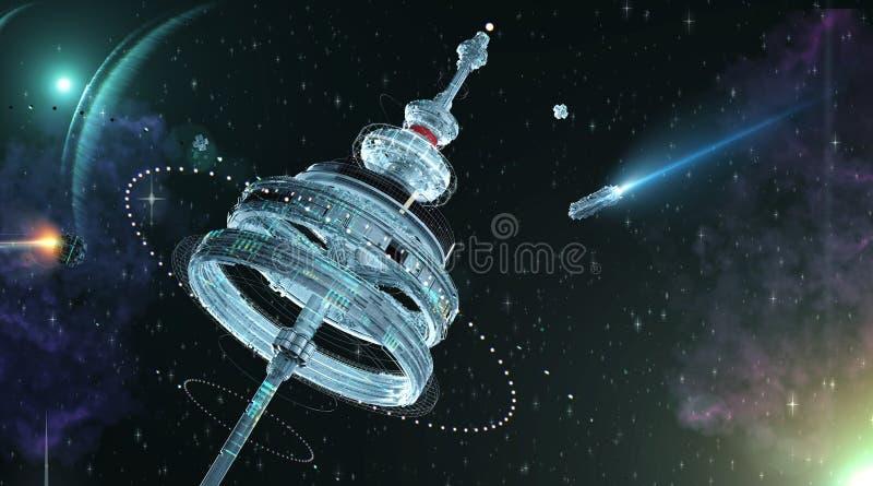 ilustração 3d de uma estação espacial com anéis gravitacionais múltiplos sobre um panorama lindo do espaço com nebulosa das estre ilustração stock