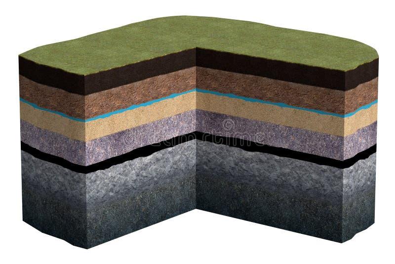 ilustração 3d de uma seção da terra Argila, areia, água, pedra, óleo Isolado Zombaria acima ilustração do vetor