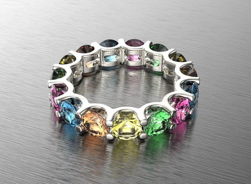 ilustração 3D do anel de ouro com diamante Fundo preto da jóia da tela do ouro e da prata ilustração stock