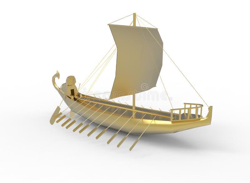 ilustração 3d do barco egípcio dourado ilustração do vetor