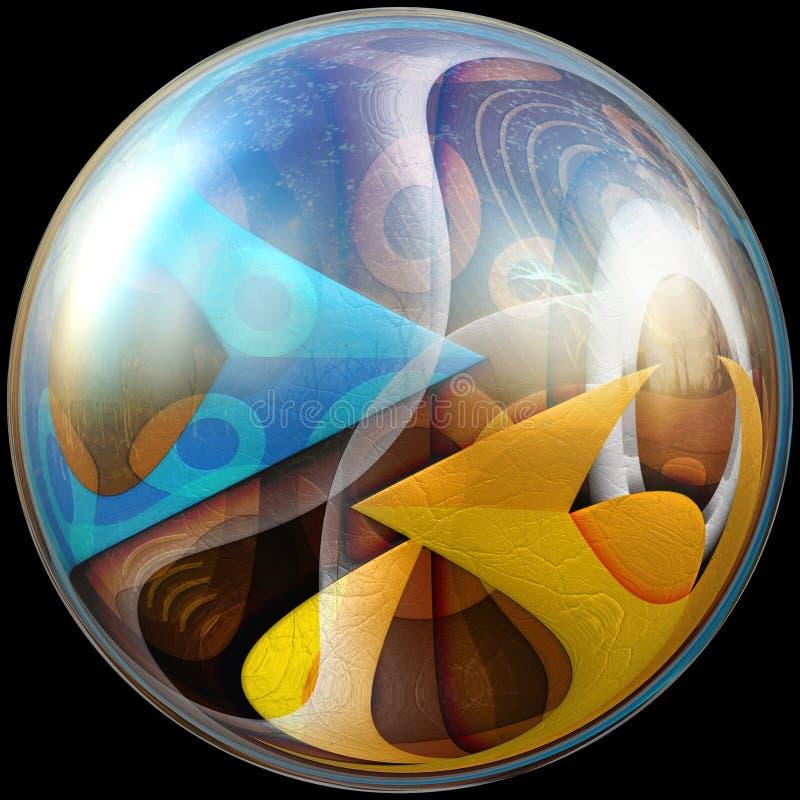 ilustração 3D do botão lustroso com fractal encaixado ilustração royalty free