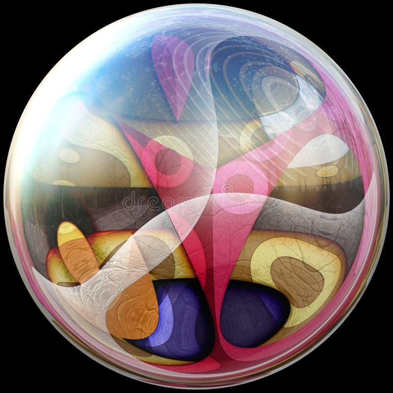 ilustração 3D do botão lustroso com fractal encaixado ilustração do vetor