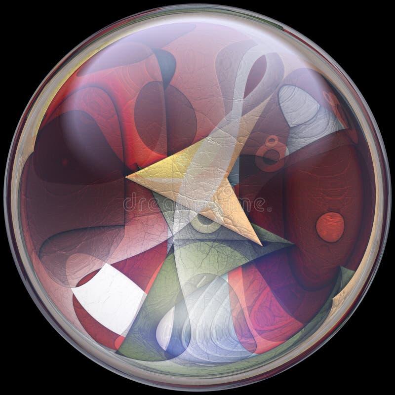 ilustração 3D do botão lustroso com fractal encaixado ilustração stock