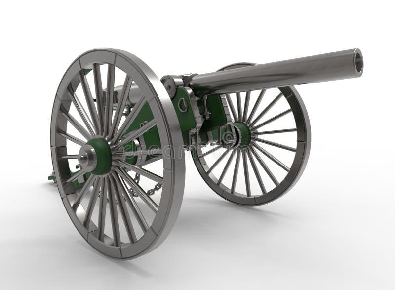 ilustração 3d do canhão da guerra civil ilustração royalty free
