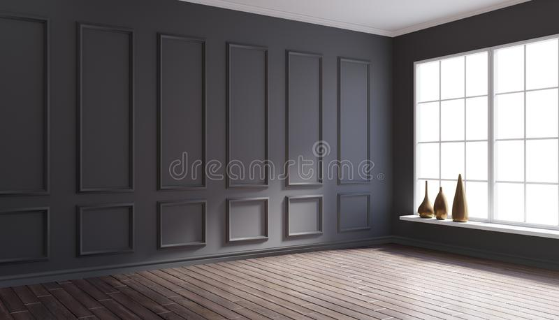 ilustração 3d do canto interior clássico acolhedor imagens de stock
