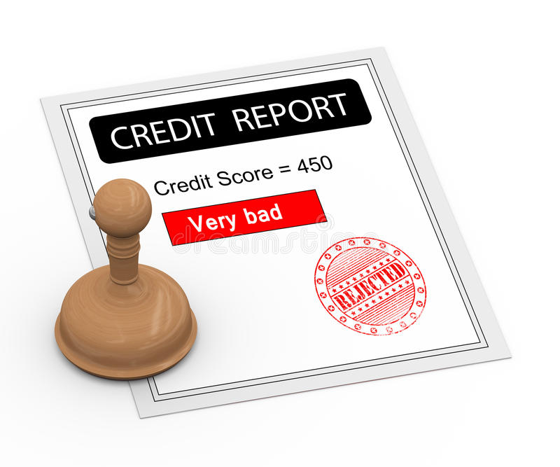 relatório mau da pontuação de crédito 3d ilustração do vetor