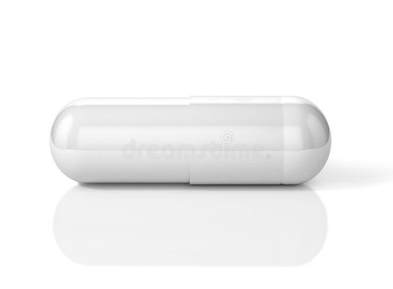 ilustração 3D do comprimido branco da cápsula ilustração do vetor