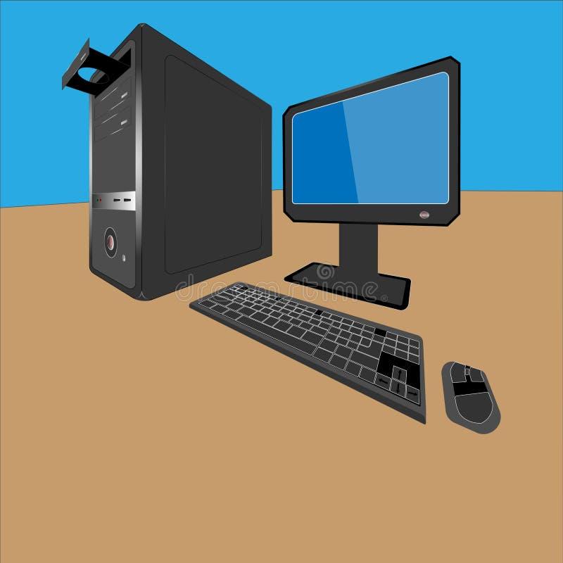 ilustração 3D do computador pessoal Equipamento - unidade de sistema, monitor, teclado e rato ilustração royalty free
