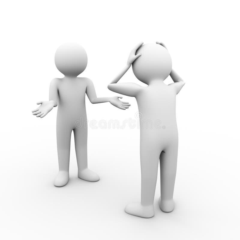 ilustração 3d do conceito da disputa de discussão dos problemas do conflito ilustração do vetor