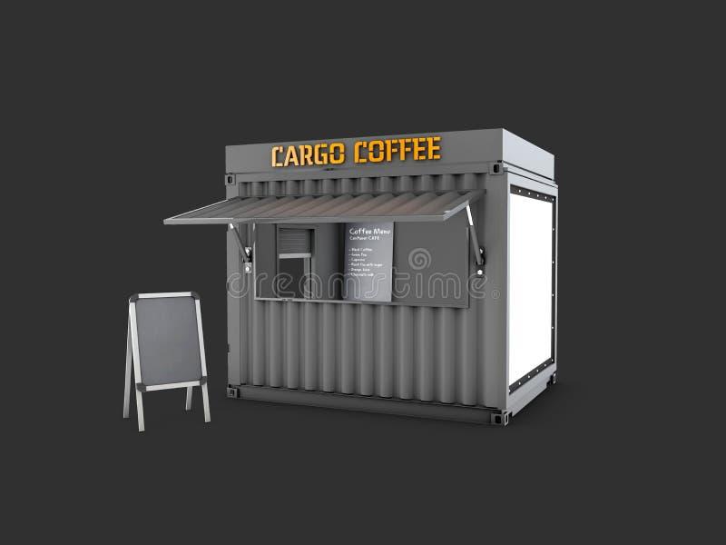 a ilustração 3d do contentor velho é convertida em uma cafetaria chique ilustração do vetor