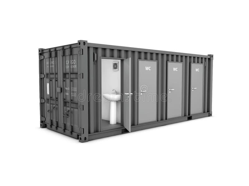 ilustração 3d do contentor velho convertido no cabine do wc, branco isolado ilustração stock