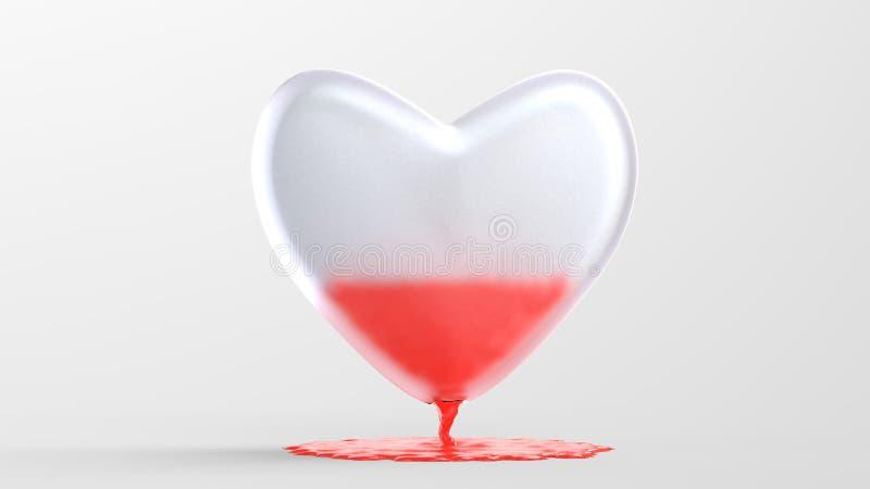 ilustração 3D do coração de vidro com do fluxo sangue para fora ilustração do vetor
