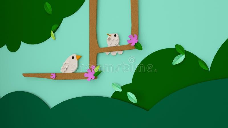 ilustração 3D do dia ou do easter de mola com cores vívidas para o po ilustração stock