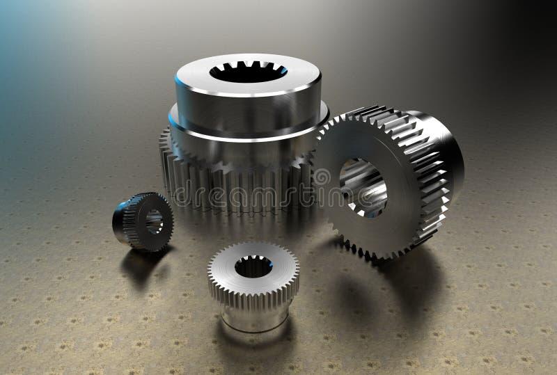 ilustração 3d do eixo e de rodas denteadas entalhados ilustração stock
