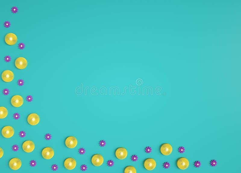 ilustração 3d do fundo floral na moda da natureza Flores amarelas e cor-de-rosa pequenas no fundo azul no canto cumprimento ou foto de stock