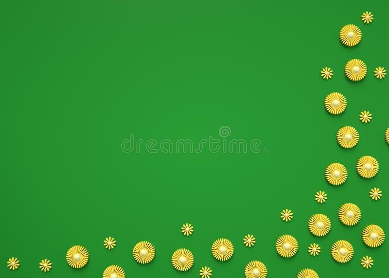 ilustração 3d do fundo floral na moda da natureza Flores amarelas pequenas no fundo verde no canto Cumprimento ou convite fotos de stock royalty free