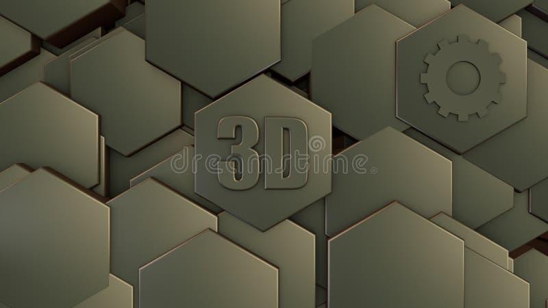 ilustração 3D do fundo futurista abstrato de muitos hexágonos diferentes, pedra do favo de mel com riscos e oxidação, velha, idei ilustração royalty free