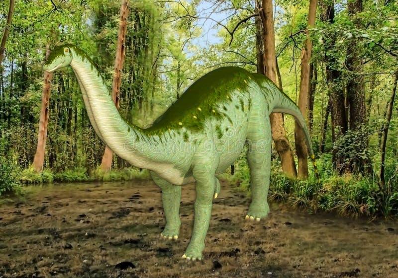 ilustração 3D do grande dinossauro que está no pântano ilustração do vetor