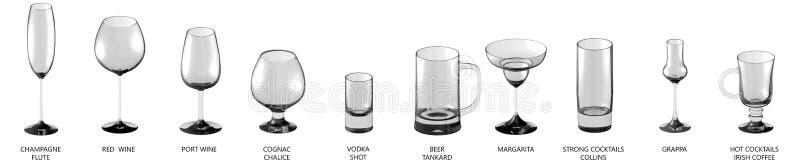 ilustração 3D do grupo grande de vários vidros para cocktail e vinho e de outras bebidas isoladas em branco, opinião da lado-part ilustração stock