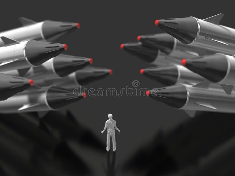ilustração 3D do míssil ilustração do vetor