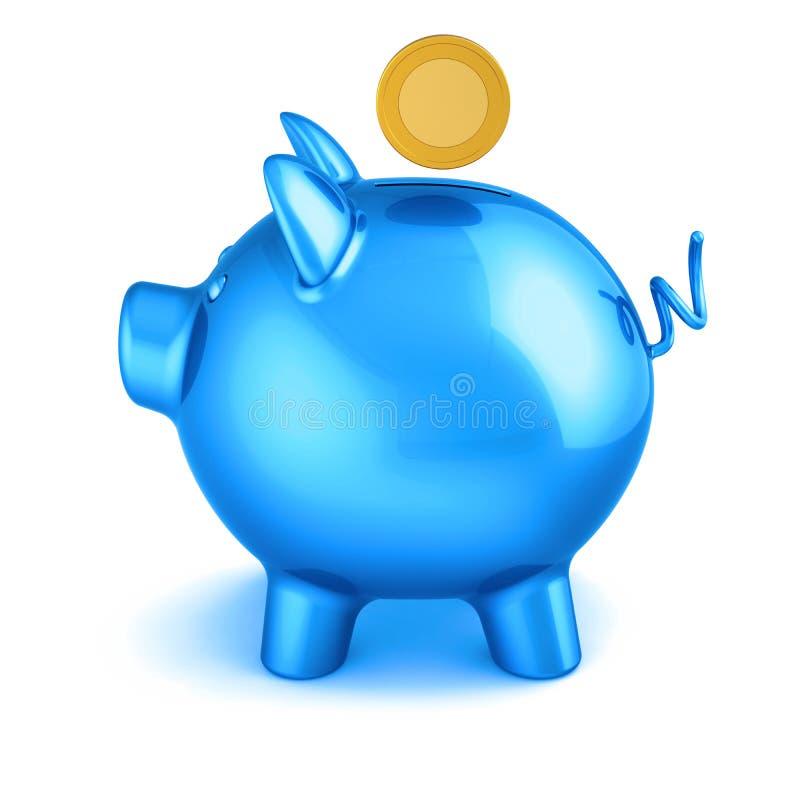 a ilustração 3d do mealheiro azul e a moeda investem o símbolo ilustração royalty free