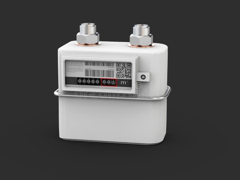 ilustração 3d do medidor de gás, contador para o gás doméstico da distribuição ilustração do vetor