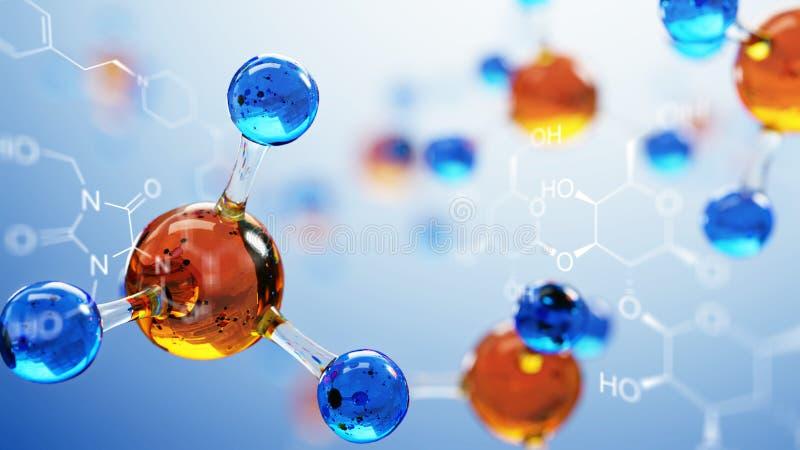 ilustração 3d do modelo da molécula Fundo da ciência com moléculas e átomos ilustração royalty free