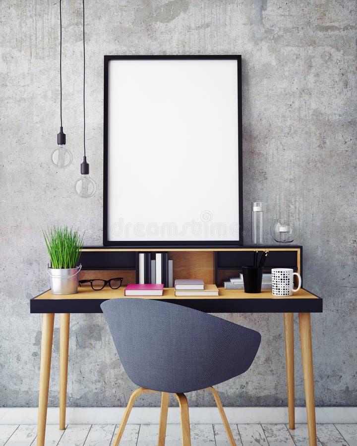 ilustração 3D do molde do quadro do cartaz, zombaria do espaço de trabalho acima,